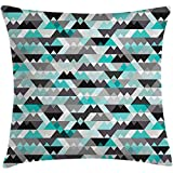 Throw Pillow Grey and Turquoise Cushion Cover, Futuristic Geometric Mosaic Design with Triangles and Zig Zags, Decorative Square Accent Pillow Case, 18 X 18 Inches, Turquoise Grey Black