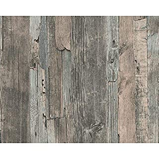 AS Creation Distressed Driftwood Wood Panel Faux Effect Embossed Wallpaper (Blue Brown 954052)