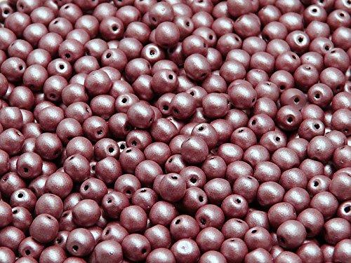 100 Stück 4mm Tschechische Druckperlen Rund, Burgundy Matte (Brautsträuße Burgund)