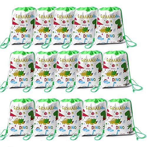 SIMUER 15pcs Niños con Cordón Mochilas Dinosaurio Party Bolsas, Viaje Bolsillo Estudiantes Mochilas Paquete de Gimnasio para Niños Regalos Cumpleaños
