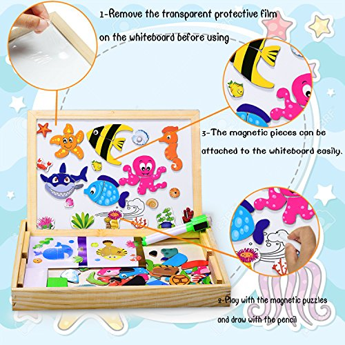Dookey Wooden Puzzle Magnetic Board Games Marine Organisms Pattern 100 PSC Jigsaw & Drawing Easel Chalkboard Educational Learning Toys with 2 Pens for Kids 3 to 6 Years Old