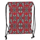 Fashion Printed Drawstring Backpacks Bags,Red Mandala,Doodle Mandala Flower Ivy Swirls Classic Paisley Ethnic Design Image Decorative,Scarlet White Black Soft Satin,5 Liter Capacity,Adjustable Str