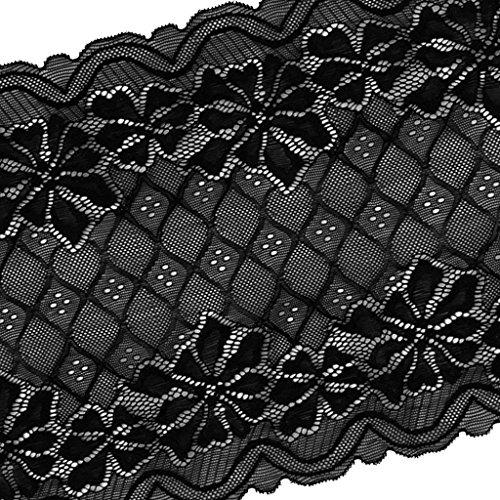 sgerste 5Meter 24cm große weiche Stretch Haarband Spitzenband Trim Stoff für Floral Strumpfband Unterwäsche Dekoration Hochzeit Zubehör DIY–Schwarz, wie beschrieben