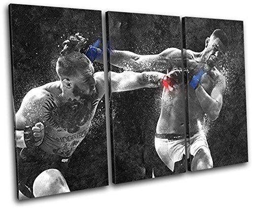 Bold Bloc Design - Conor Mcgregor Nate Diaz UFC MMA Sports 150x100cm TREBLE Leinwand Kunstdruck Box gerahmte Bild Wand hangen - handgefertigt In Grossbritannien - gerahmt und bereit zum Aufhangen - Canvas Art Print - Canvas Print Art