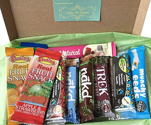 Delicious Healthy Snacks & Chocolate Gift Box small - Vegan Fairtrade Nakd Frutina Trek Christmas Gift Gifts At Dawn