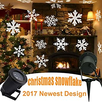 Gesimei led inondation lumi res int rieur ext rieur en mouvement blanc flocon de neige paysage for Projecteur led decoration noel exterieur