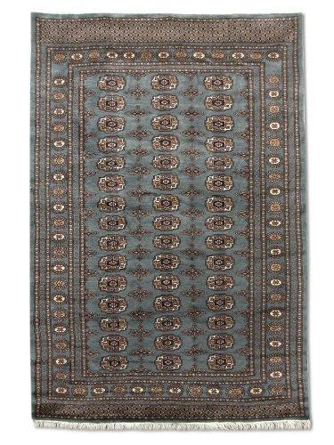 Tradizionale a mano Bokhara tappeto persiano, lana, grigio, 122x 178cm, 4'x 5' 25,4cm ( ft)