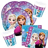36-teiliges Party-Set Disney Frozen Northern Lights - Teller Becher Servietten für 8 Kinder