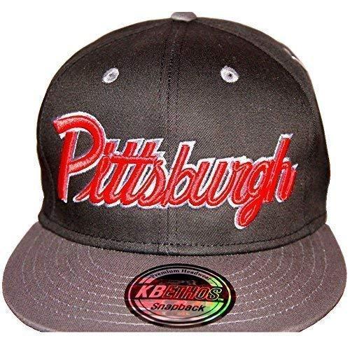 KB Ethos Pittsburgh Casquettes Snapback, Visière Plate Hip Hop Bling BORDURE Unisexe Casquettes De Baseball