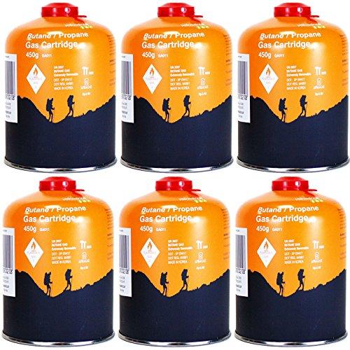 Yellowstone GA011 6 x Schraubkartusche Ventil Gas Kartusche Kocher Butan Propan 450 g (Gas Ventil)