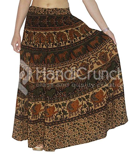 handgemachte Exporte indische Baumwolle Elefanten Pfau Mandala lange böhmischen Freizeitkleidung Rapron, Mandala Röcke, ethnische Wrap Around, Vintage Boho A-Linien oder Wrap Around (Vintage Wrap-around-rock)