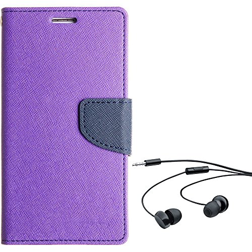 Avzax Stylish Luxury Magnetic Lock Diary Wallet Style Flip Cover Case for Micromax Canvas Silver 5 Q450 (Purple) + in Ear Headphone