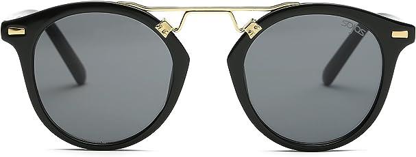 SOJOS Premium Plastic with Metal Bridge Round Frame with Double Color Mirror Lens Women Sunglasses SJ2023
