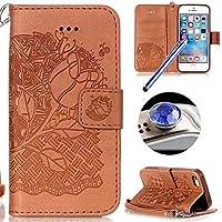 Etuse Custodia Per iPhone 5/5S/SE,iPhone SE Cover Marrone,iPhone 5S Custodia in Pelle,Elegante Floreale Puro Color (0.25 Bumper)