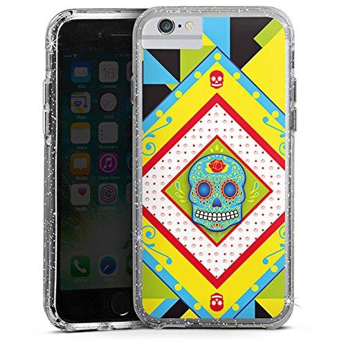 Apple iPhone 6s Bumper Hülle Bumper Case Glitzer Hülle Totenkopf Skull Buntes Maya Bumper Case Glitzer silber