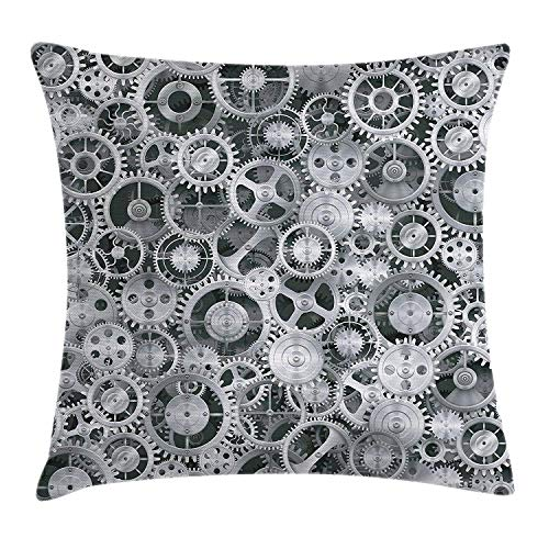 Ntpclsuits Clock Pillow case Realistic Look Cogwheels Mechanism -
