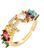cmoonry Fashion Colourful Crystal Ring Unique Design 18K Gold Plated 26 Alphabet Letter Open Ring Adjustable Women Name Weddi