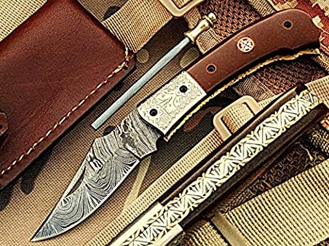 Handgefertigt 18cm Awesome Klapp Tasche Messer Made mit echten Damaskus Stahl mit Micarta Holz Griff und Kropf eingraviert: (bdm-1107) (Legal zu tragen)