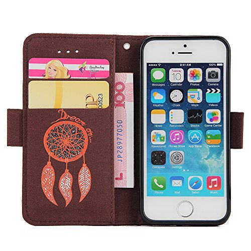 Coque Etui pour iPhone 6/6S, iPhone 6S Coque Portefeuille PU Cuir Etui,iPhone 6 Coque de Protection en Cuir Folio Housse Leather Case Wallet Flip Protective Cover Protector, Ukayfe Etui de Protection  Glitter Campanula-Brun