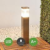Lampenwelt LED Außenleuchte (spritzwassergeschützt) (Modern) in Alu aus Edelstahl (1 flammig, A+, inkl. Leuchtmittel) | Wegeleuchte, Pollerleuchte, Wegelampe, Sockelleuchte