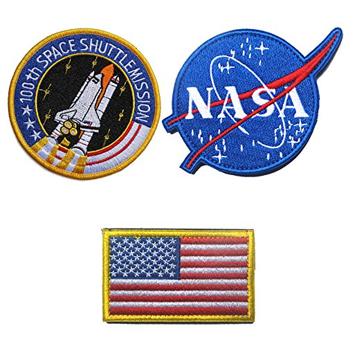 SpaceAuto Bundle 4 Stück ein Set Military Tactical Morale Badge Emblem Patch - NASA Logo, 100th Space Shuttle Mission, Golden Red USA Flagge, NASA C - 3pcs Sew on -