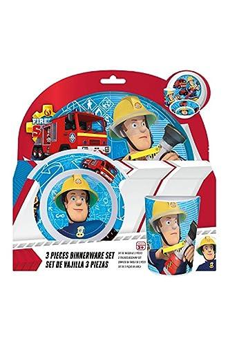 Feuerwehrmann Sam 3tlg. Melaminset in offener Geschenkverpackung