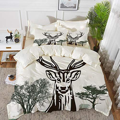 Yaoni set biancheria da letto,set copripiumino in microfibra con federa,decorazione di antlers, cervi alci con alberi sagome contorno di vi,1 copripiumino 200 x 200cm + 2 federe 50 x 80 cm