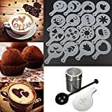 Demiawaking Chocolate Shaker Duster + 16pcs Cappuccino Coffee Stencils + Measure Spoon Kit Coffee Making Set Home Kitchen Tool