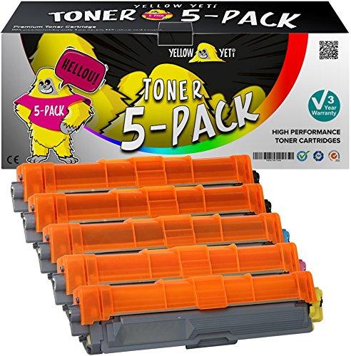 Yellow Yeti 5er Pack TN241 TN242 TN245 TN246 Premium Toner kompatibel für Brother HL-3140CW 3150CDW 3170CDW DCP-9015CDW 9020CDW MFC-9140CDN 9330CDW 9340CDW 9332CDW 9142CDN [3 Jahre Garantie] (Drucker Brother Laser 9340)