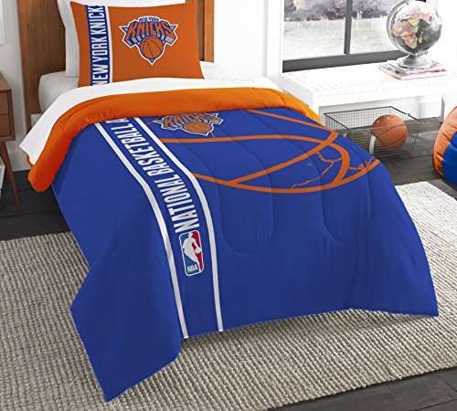 Polyester-twin-size-tröster (The Northwest Company Offiziell Lizenziertes NBA New York Knicks Back Slam Twin Tröster und Sham)