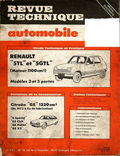 REVUE TECHNIQUE AUTOMOBILE N° 397 RENAULT 5 TL ET GTL / 1100 CM3 / 3 ET 5 PORTES par E.T.A.I.