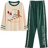 GOSO Pijama para niñas 8 9 10 11 12 13 – 14 años Lindo Pijama para niñas Adolescentes con Estampado de Dibujos Animados Tops