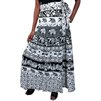 Mogul Interior Women's Maxi Sarong Wraparound Idea Skirt One Size Black, White