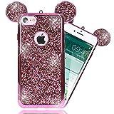 NALIA Handyhülle für iPhone 7, Glitzer Slim Back-Cover Case mit Maus Ohren, Glitter Silikonhülle Schutz-Hülle Dünnes Strass Bling Etui, Handy-Tasche Bumper für Apple iPhone-7, Farbe:Pink