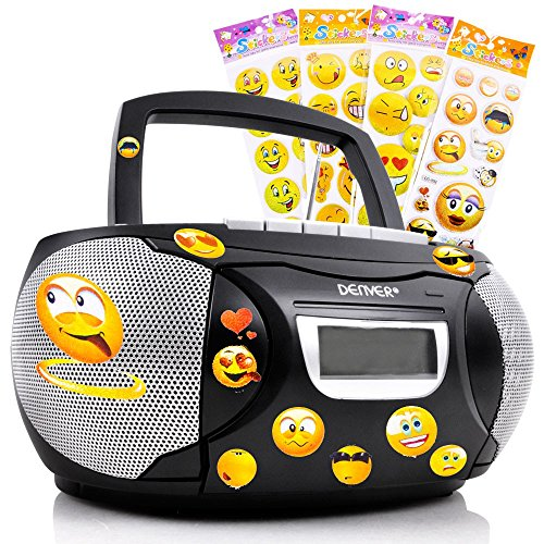 etc-shop Stereo Musik Anlage Kinder Zimmer CD-Radio Kassettendeck im Set inklusive Smiley Sticker