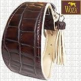 Woza Premium Windhund Halsband 6,3/42CM Croco Rindleder Braun Rindleder Nappa Beige Handmade Greyhound Collar