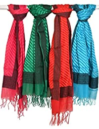 Exotic India Lot Of Four Dupatta With Woven Border And Stripes - Multi-Coloured