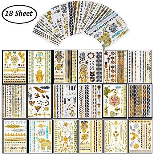 Temporanei tatuaggi flash metallici - lusso metallico oro e argento tattoo adesivi tatuaggi temporanei, vendita calda impermeabile rimovibile, per adulti e bambini 18 fogli 200 modelli