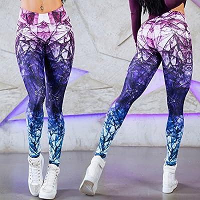 Bekleidung AMUSTER Damen Sport Gym Yoga Workout Mid Waist Running Hosen Fitness Elastische Leggings Skinny Schlank Hose Treggins Slim Smooth Hüfthoch Hose