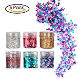 Face Glitter Chunky Glitter Faces and Bodies Cosmetic Hexagons Glitter Paillette Sparkling Decoration Glitter Hair and Nails 6 Colour for Festival Christmas