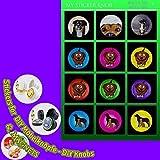 Do it yourself MOTIV DIY Bogen6 Kinder Tiere Hunde 12er für DIY Möbelknöpfe und DIY Magnete für Schrank, Schublade, Kommode, Tür, Küche, Bad, Haushalt, Kinderzimmer, Kühlschrank, Büro, Whiteboard - 40mm KUPPEL