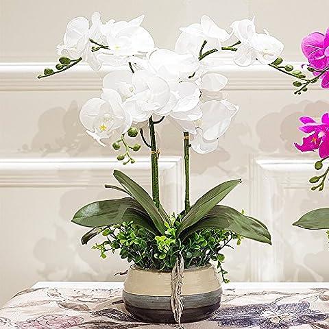 SDN2-la falena orchid fiore di emulazione Kit falsificate cinese fiori in seta soggiorno con tavolo da pranzo per la casa pezzo decorativo floreale vasi , Bianco
