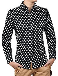 Allegra K Hommes 100% Coton À Pois Slim Manches Longues Chemise Robe