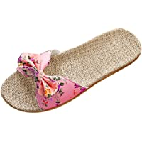 Women Sliders Woven Linen Slippers Summer Flat Sandals With Bow Floral Slip On Ladies Skidproof Casual Walking Holiday…