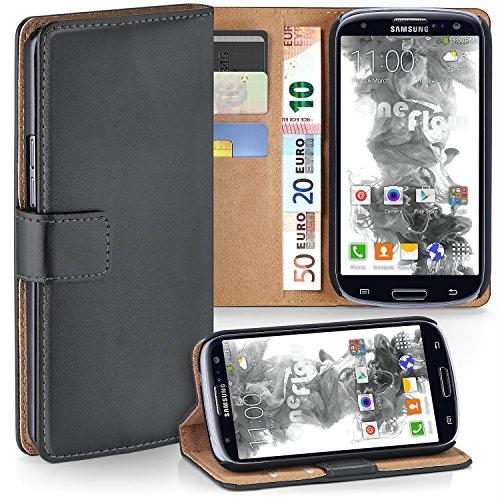 Samsung Galaxy S3 Hülle Dunkel-Grau mit Karten-Fach [OneFlow 360° Book Klapp-Hülle] Handytasche Kunst-Leder Handyhülle für Samsung Galaxy S3 / S III Neo Case Flip Cover Schutzhülle Tasche Galaxy S3 Handy Cover Leder