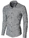 MODERNO Herren Hemd Kariert Silm Fit Button Down Kragen Langarm (MOD1458LS) Schwarz/Weiß EU XL