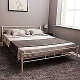 Home Discount Dorset King Size Bed Frame, 5ft Metal Bed Frame Bedroom Furniture, White