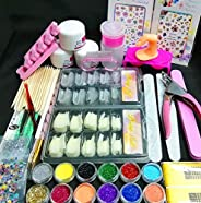 Nail Kit Set Professional Acrylic with Everything, 12 Glitter Acrylic Powder Kit Nail Art Tips Nail Art Decora