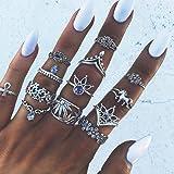 Aukmla Vintage Knuckle Rings Set Anelli di barretta impilabili in argento Anello intagliato a fiori Midi Misura articolazione
