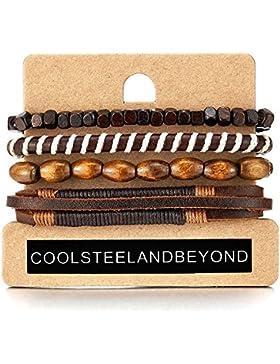 [Gesponsert]4 Braun Wickeln um Strap Armband Herren Damen, Multi-Strang Perlen Holz Armband, Lederarmband Baumwolle Schweissband
